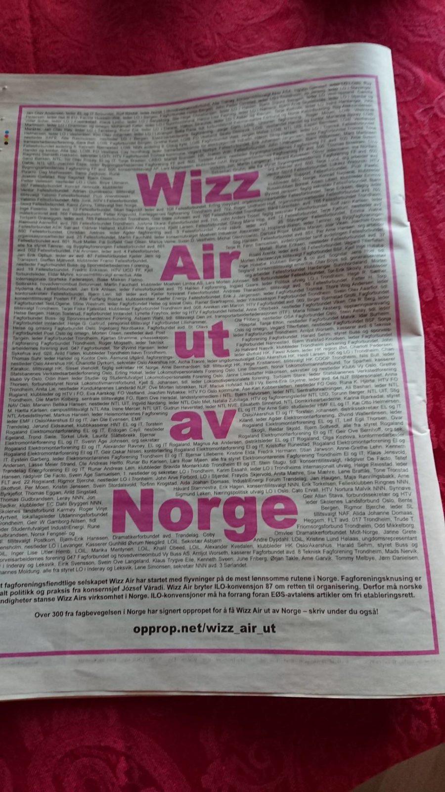 Wizz Air raus aus Norwegen!